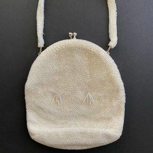Vintage White Beaded Bag by Richere